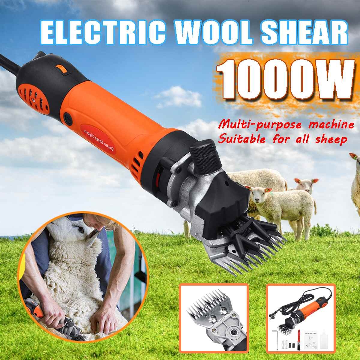 1000W 220V Electric Shearing Clipper Shear Sheep Goats Alpaca Shears Pet Hair Shearing Machine Cutter Wool Scissor Farm Supplies