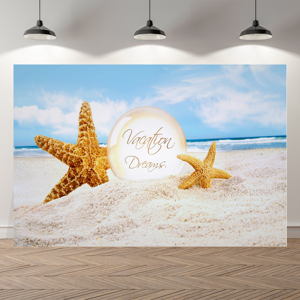 Фотофон для студийной съемки с изображением летних каникул моря пляжа детей солнечного света праздника