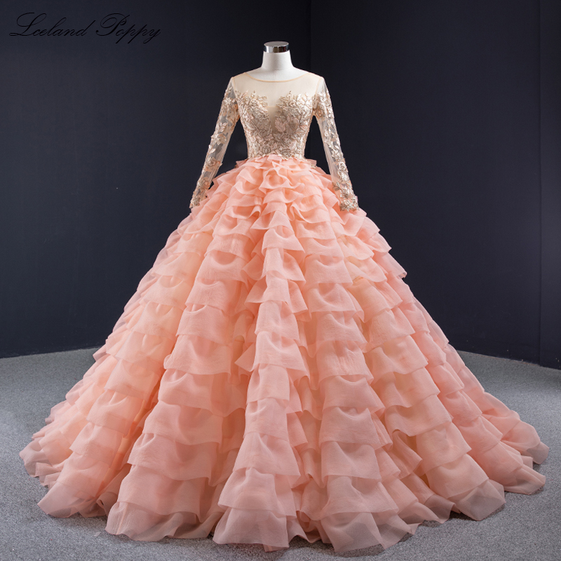 Vestido De Novia Women's Ball Gown Wedding Dresses 2020 Scoop Neck Long Sleeves Floor Length Tiered Princess Bridal Dress