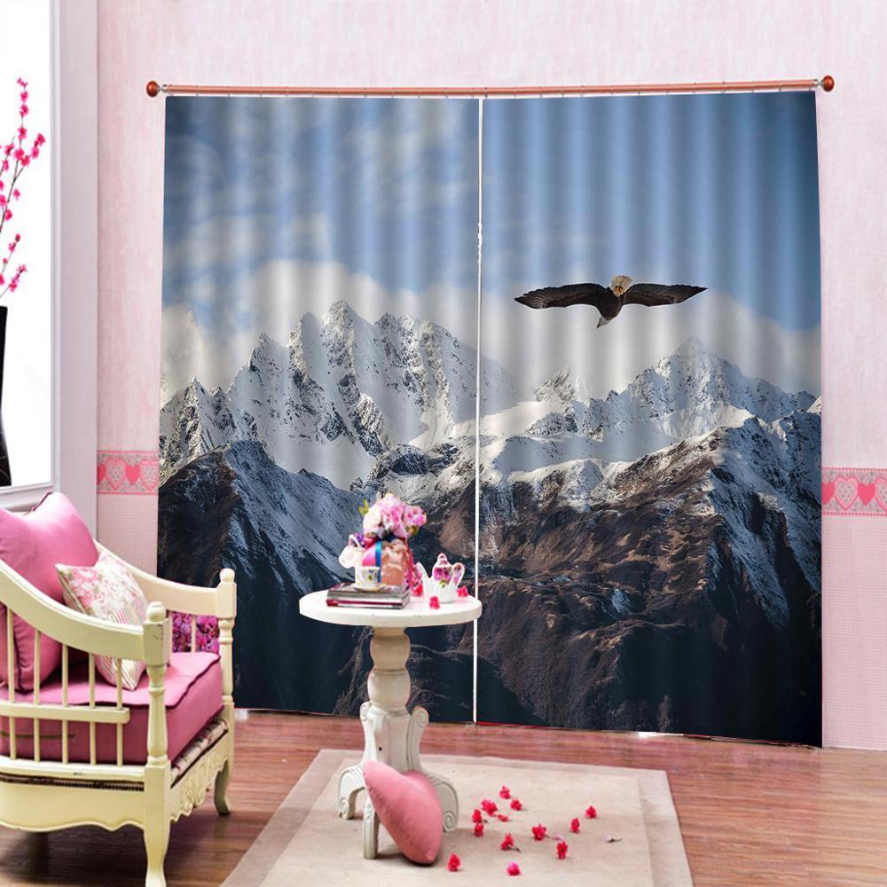 Летающий орел снег горы Шторки для ванной настроить все размеры полиэстер ткань для гостиной спальни