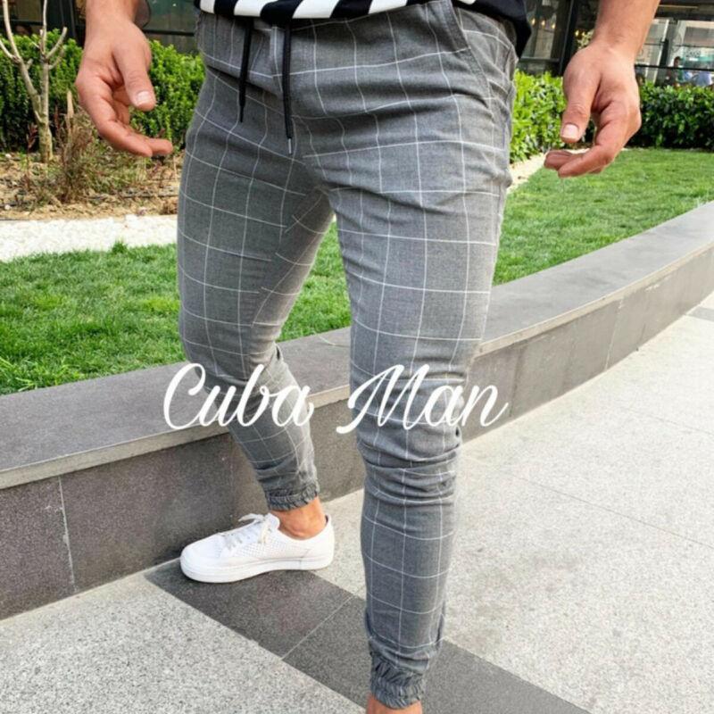 Fashion Men's Plaid Twill Drawsrting Long Trousers Jogger Trousers Men Male Urban Hip Hop Harem Casual Trousers Slim