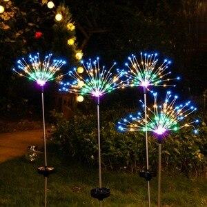 Солнечная приведенная в действие уличная газонная мира Одуванчик фейерверк лампа флэш-строка 90 светодиодный/120 светодиодный для сада газон пейзаж праздник светильник