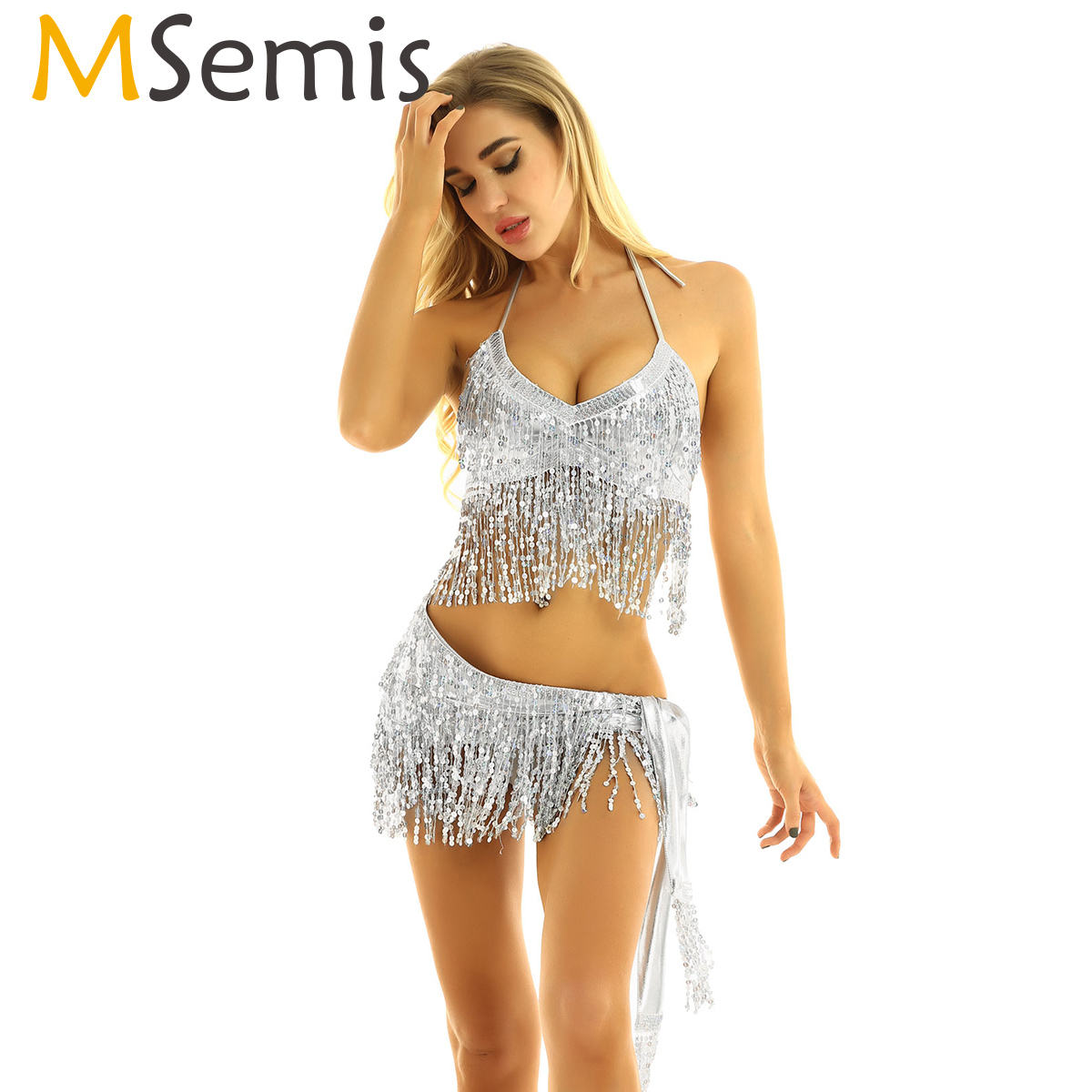 MSemis Women Pole Dance Bra Top Hip Scarf Wrap Skirts Carnival Rave Festival Clothing Shiny Sequin Tassels Belly Dance Costume