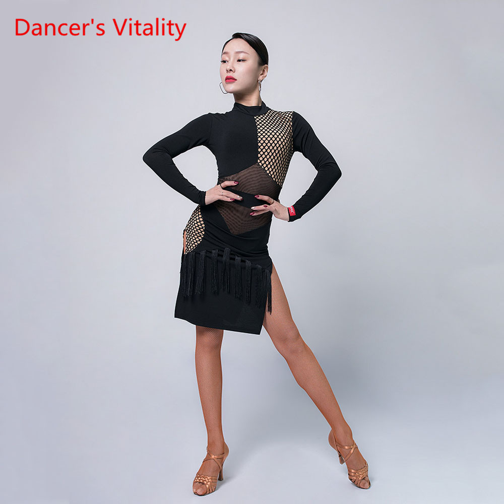 Latin Dance Practice Clothes Female Adult Dress Winter Dress Sexy Backless Dancing Clothing Performance Training Costume