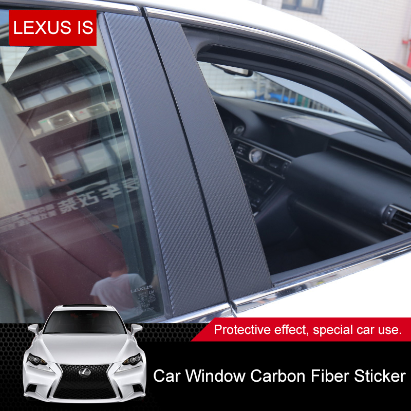 QHCP Car Window B Pillars Sticker Film Decorative B-Pillars 8Pcs For Lexus IS250F 200T 300 2013 2014 2015 2016 2017 2018 2019