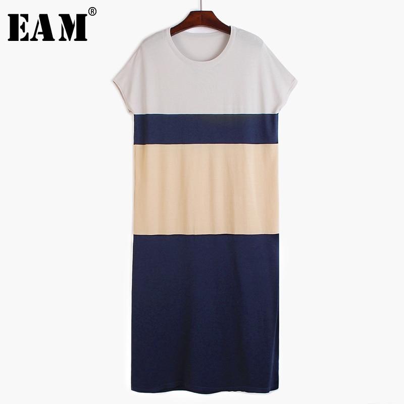 [EAM] Women Blue Striped Split Big Size Long Dress New Round Neck Short Sleeve Loose Fit Fashion Tide Spring Summer 2020 1T218