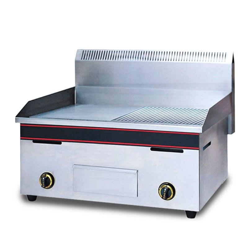 LPG/LNG Desktop Half Flat Half Grain Teppanyaki Steak Frying Pan Oven Western Food Commercial  Rapid Heating Fried Meat Quickly Hot Plates     - title=
