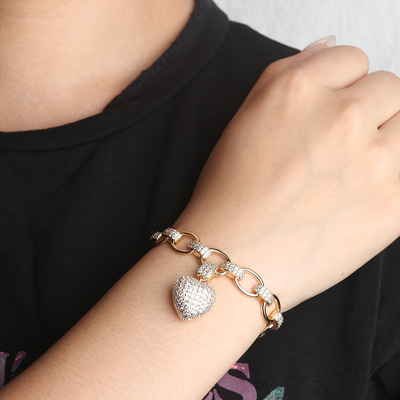 SINZRY hot sale cubic zirconia heart pendant necklace bracelet jewelry set elegant CZ costume jewellery