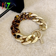 F.J4Z 2021 Trend Bacelets for Women Fashion Thick Golden Mix Leopard Black White Resin