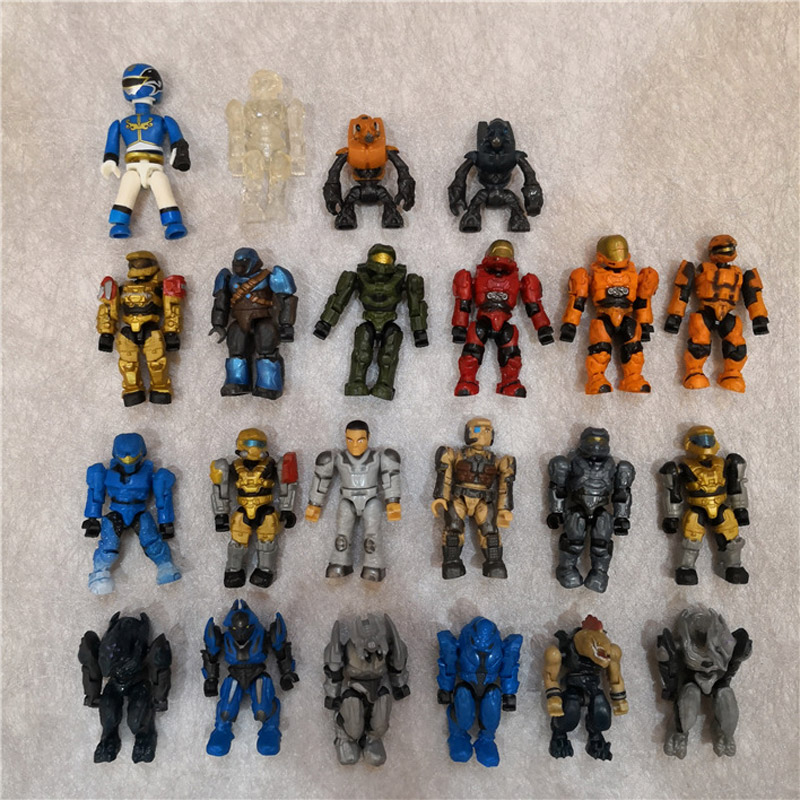 10pcs/lot Halo Shooting Game PVC Action Figures Cartoon Collectiion Soldier Robot Monster Toy For Boy Juguete Model Gift Kid
