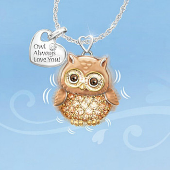 Hot Sale Zircon Cartoon Animal Pendant Necklace Woman Personality Bee Owl Ladybug Lettering Sweater Chain Korean Fashion Jewelry 5
