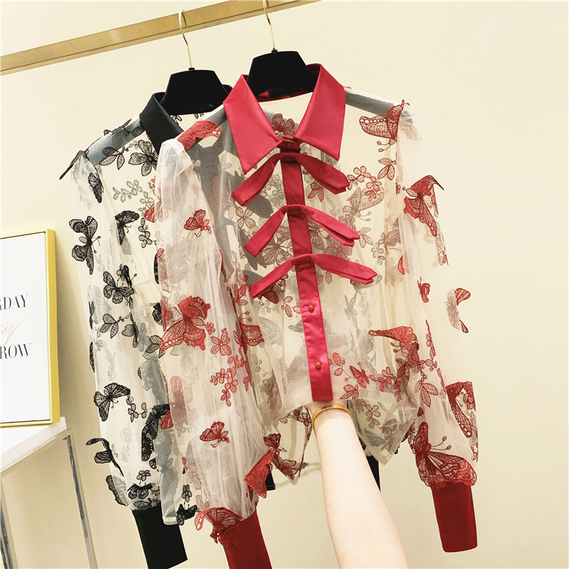 Embroidered Bow Transparent Mesh Shirt Women's 2020 Spring New Long-Sleeved Loose-Fit Lantern-Sleeve Shirt Women's Blouses Tops