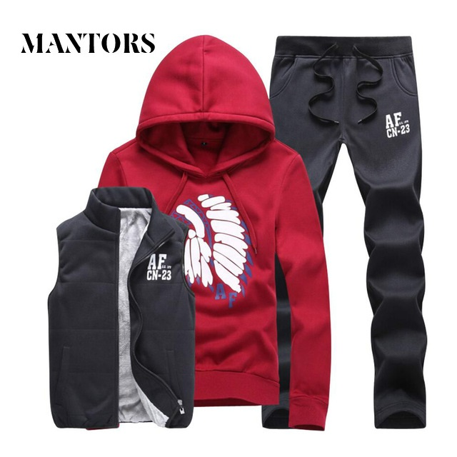 Casual Men Set 2019 Winter Inner Fleece Thick Hooded Jacket+Pants Men's Sportswear 3 Pieces Sets Warm Jogger Tracksuit Male Set