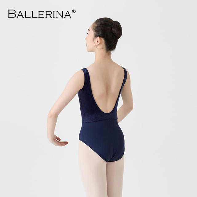 Femmes Ballet danse justaucorps Adulto dos ouvert danse costume yoga gymnastique sans manches noir justaucorps ballerine 2505