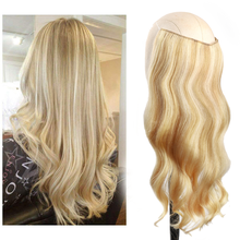 Hair-Extensions Hairpiece Straight 4-Clips Halo with Fish-Line Invisible-Wire Piano-Color