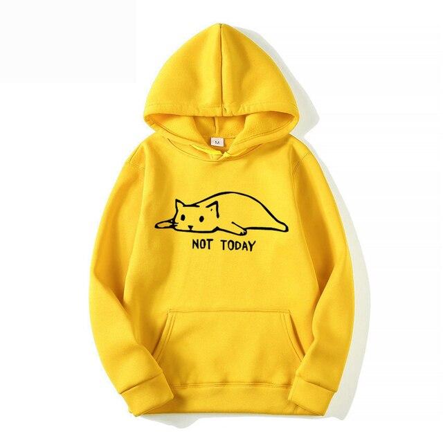 Men/Women Harajuku Fashion Sweat Unisex Long Sleeve Sudadera Mujer Kawaii Cat Hoodies Men Not Today Funny Graphic Sweatshirt 2