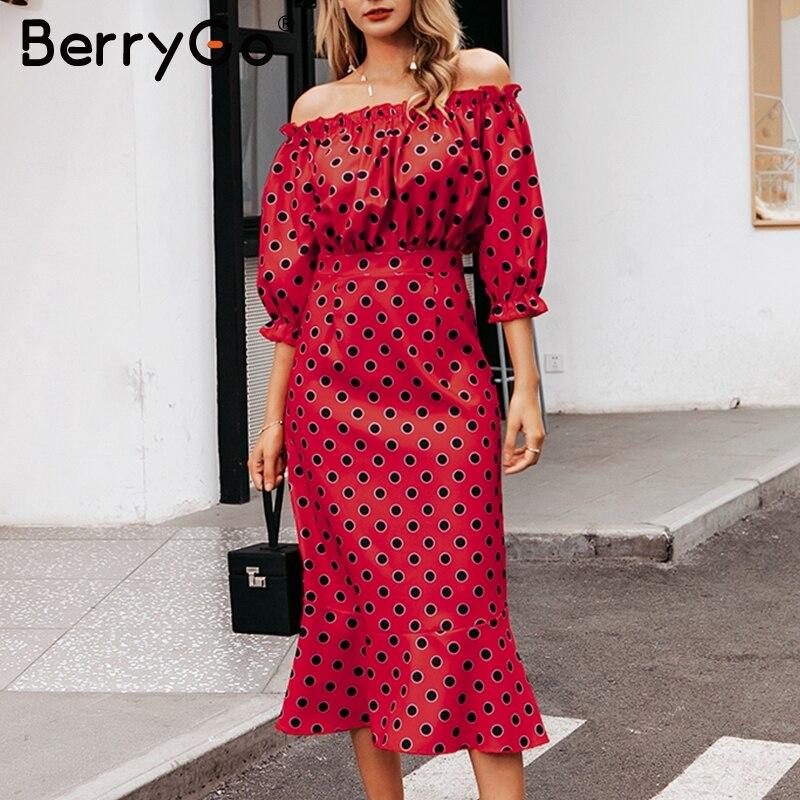 BerryGo ombro off Sexy polka dot mulheres vestido longo de cintura Alta vestidos de Festa clube bodycon ruffles outono slim senhoras vestidos