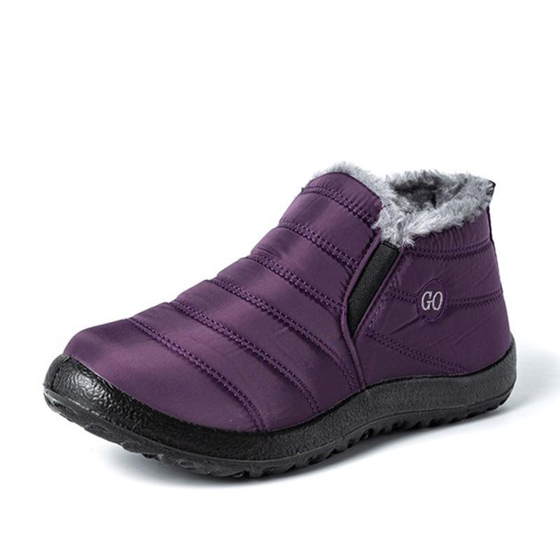 Snow Boots Women Shoes Warm Plush Fur Ankle Boots Winter Female Slip On Flat Casual Shoes Waterproof Ultralight Footwear 33