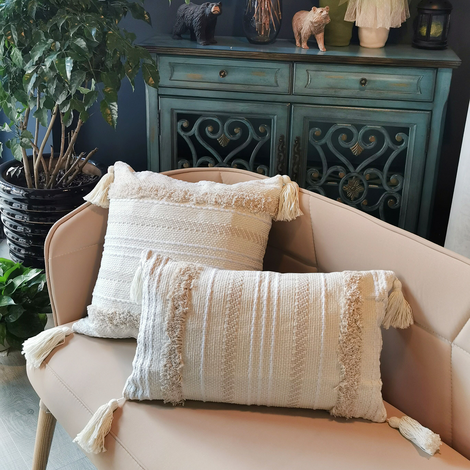 Pillow Covers Boho Decorative Soft Tufted Pillowcase With Tassels Decorative Pillow Cushion Cover For Sofa Couch Chair Car Seat
