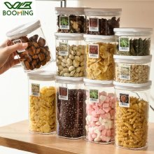WBBOOMING Stackable Plastic Sealed Cans Kitchen Storage Box 3 Capacity White Food Container Keep Fresh Boxes For Home Use