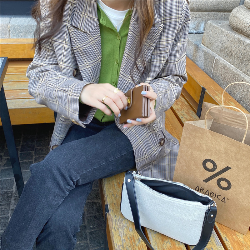 New suits Female Vintage Autumn Office Ladies Notched Collar Plaid Women Blazer Breasted Jacket Casual Pockets Female Suits Coat