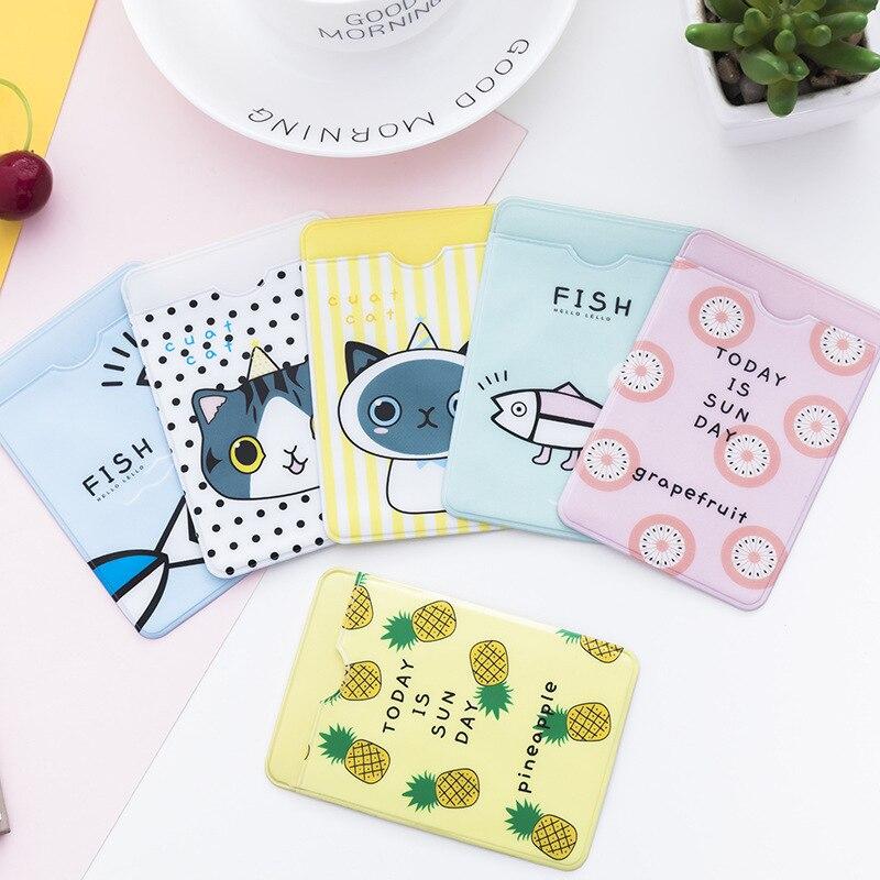 1PC Cute PVC Credit ID Card Holder Case Korean Kawaii Bus Bank School Office Supplies ID Card Cover Holder Card Business Desk