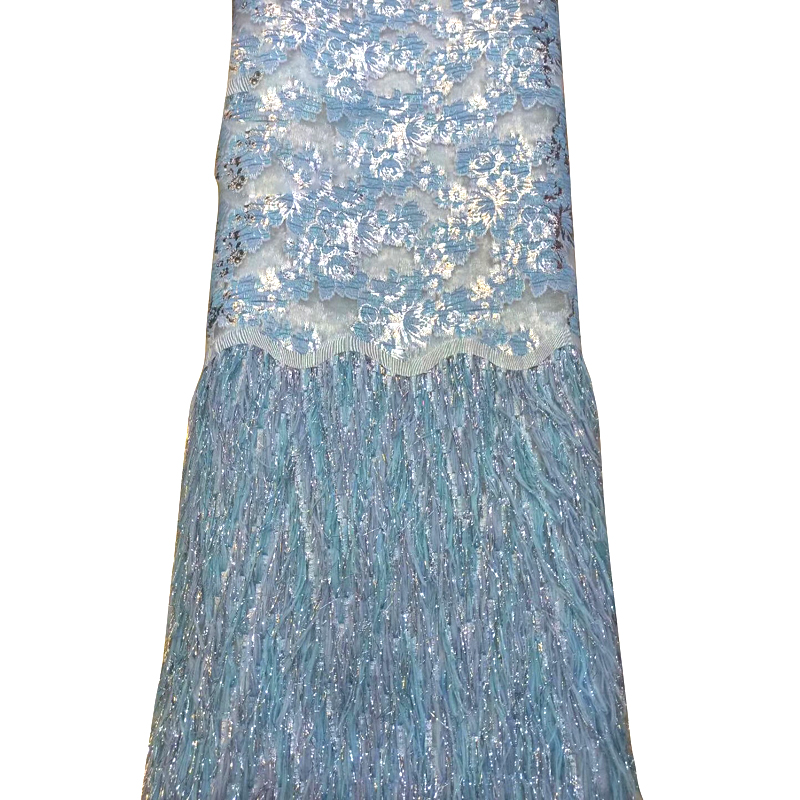 Latest African Lace Fabric Floral Embroidered Wonderful Tassel Igh Quality Tulle Lace For Nigeria Evening Dress Salouva Broderie