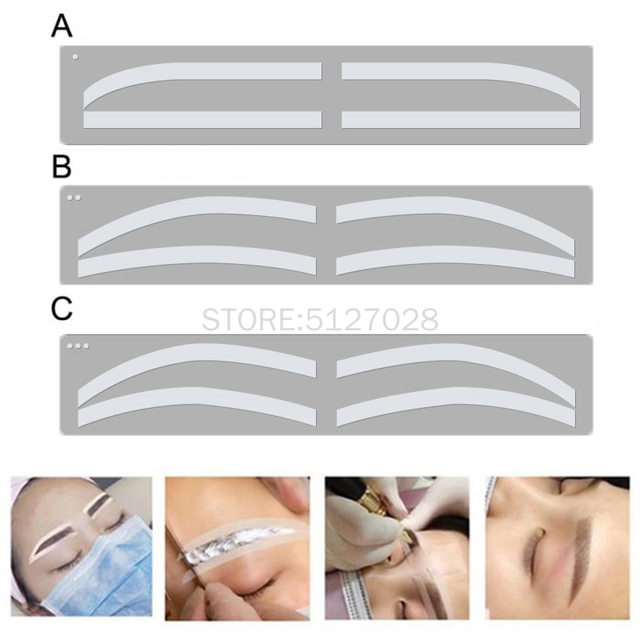 6 Pair Disposable Eyebrow Tattoo Shaping Auxiliary Sticker Templates Eyebrow Stencil Semi Permanent makeup tool
