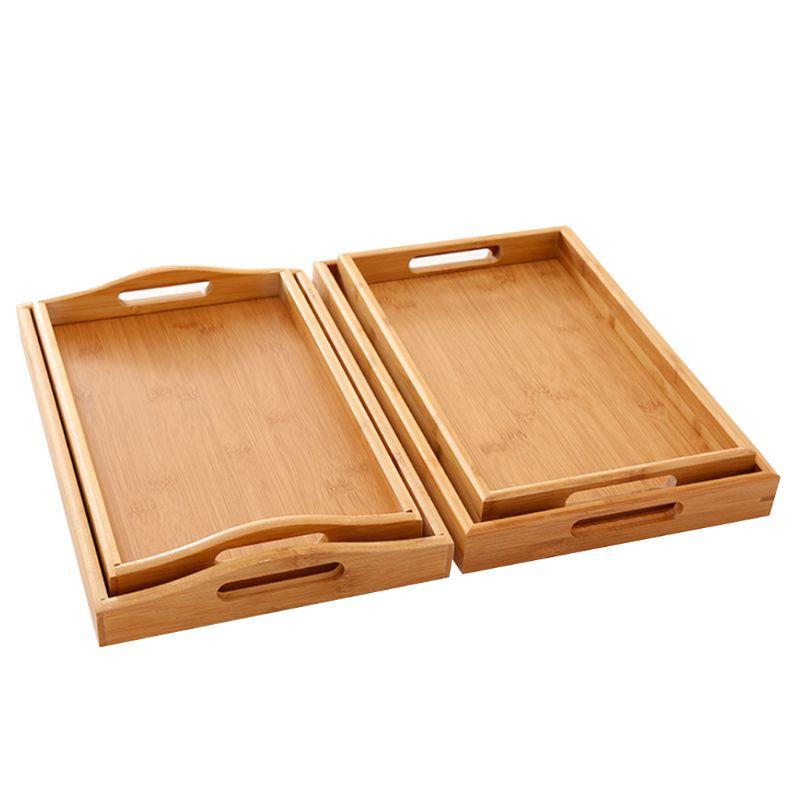 Сервировочный поднос из бамбука с ручками, поднос для чая, поднос для бара, поднос для завтрака, поднос для еды PXPC-5