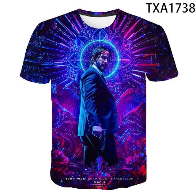 2020 New Summer Movie John Wick  3D T shirt Men Women Children Fashion Streetwear Boy Girl Kids Printed T-shirt Cool Tops Tee 5