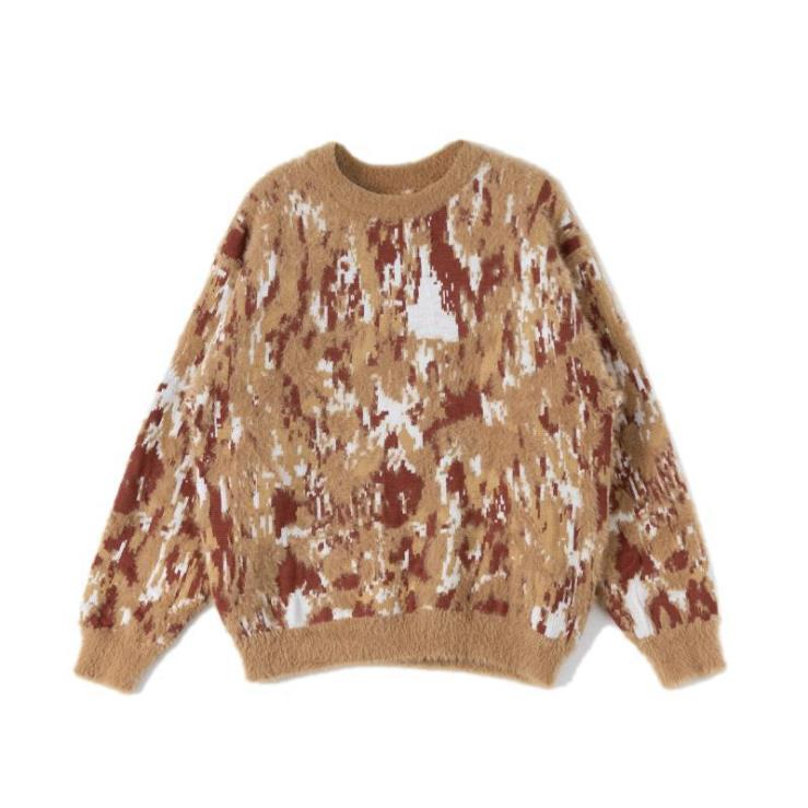 Casual Sweaters Pullover Knitwear Slim-Fit Wool Men Men's High-Quality Thick Leopard