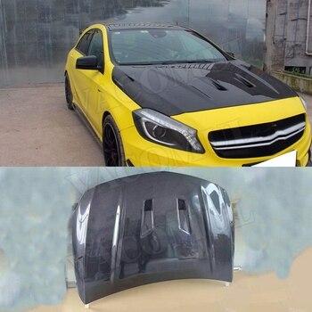 Carbon Fiber Front Bumper Engine Hood Air Vent Bonnet Cover Trims for Mercedes Benz A Class W176 A45 2013-2019