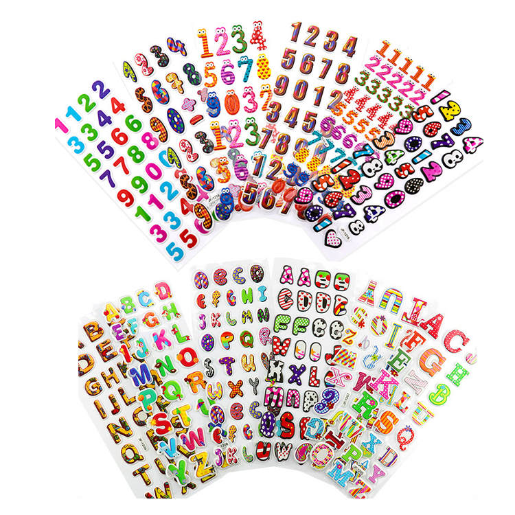 20 Sheets Colorful Letter Alphabet Sticker/ 3D Self-Adhesive Stickers Foam Sticker for Kids DIY/ Arts Craft Supplies Greeting Cards Home Decoration