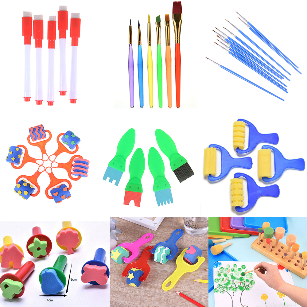 1Set Sponge Brush Plastic Handle Paint Brushes Paintbrush Roller Children Kids DIY Graffiti Painting Drawing Tools