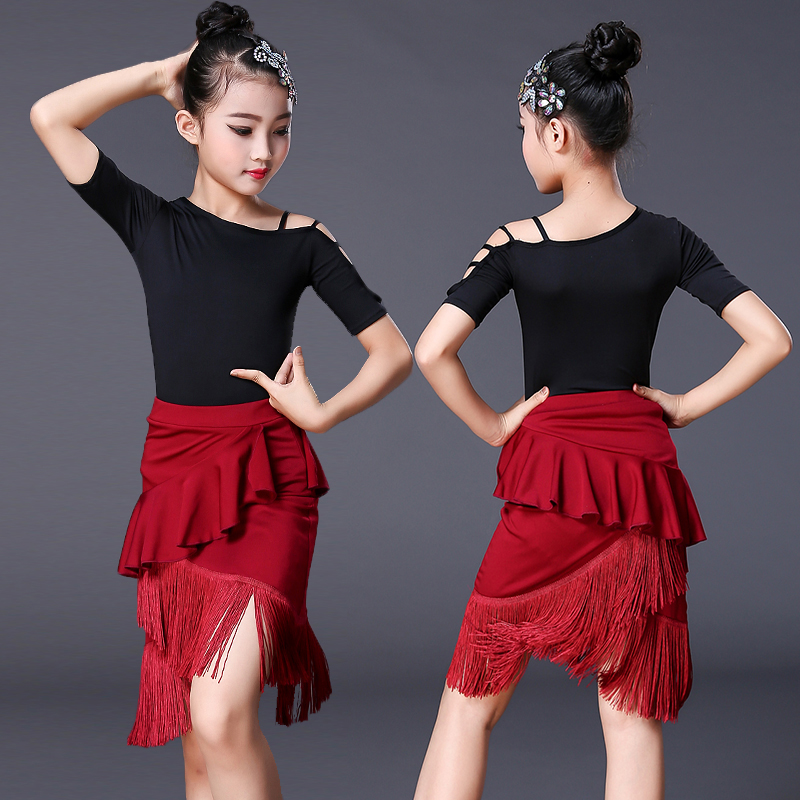Black 2pcs Sets Girl Latin Dance Dress For Girls Ballroom Dancing Dress Girl Competition Dancewear Kids Kid Dance Costumes Set