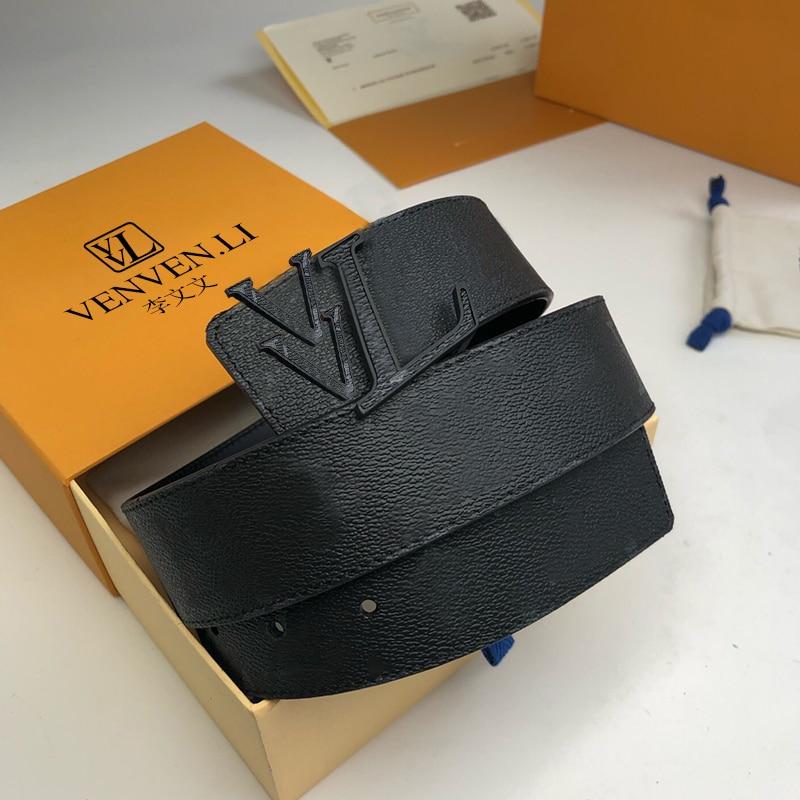 Men's black top layer cowhide fashion buckle simple business casual belt belt belt