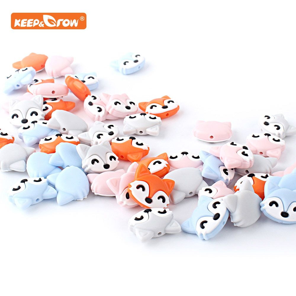 Keep&grow 10pcs Fox Silicone Beads Baby Teether Necklace DIY Making Animal Food Grade BPA Free Rodent Accessories