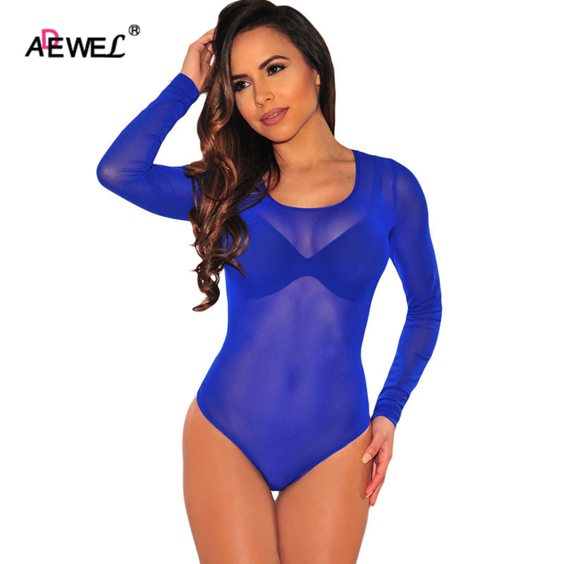 ADEWEL Black Mesh Lace Bodysuit Transparent Long Sleeve O Neck Sexy Bodysuit Women Rompers Female Overalls Bodycon Jumpsuit Body