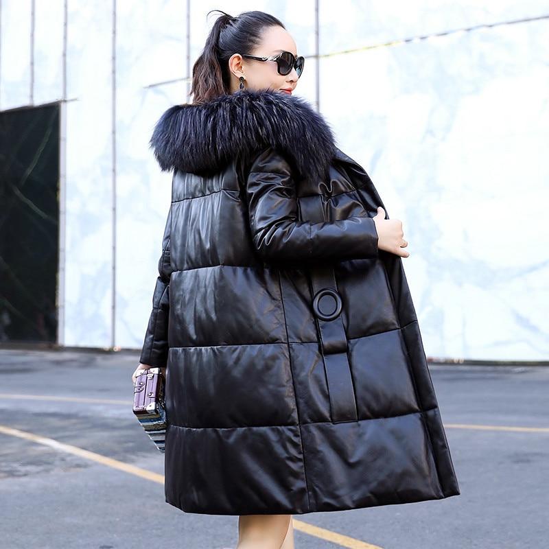 Real Genuine Leather Jacket Autumn Winter Coat Women Clothes 2020 Raccoon Dog Fur Collar Sheepskin Down Coat Korean Vintage Tops