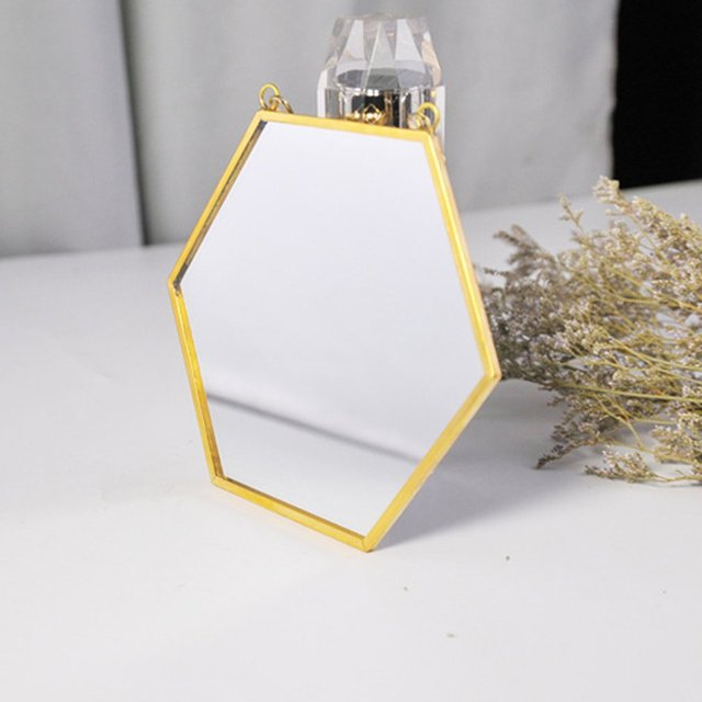 Nordic Minimalist Home Decoration Geometric Shape Gold Brass Hexagonal Mirror Bathroom Mirror Entrance Mirror Makeup Mirror 5