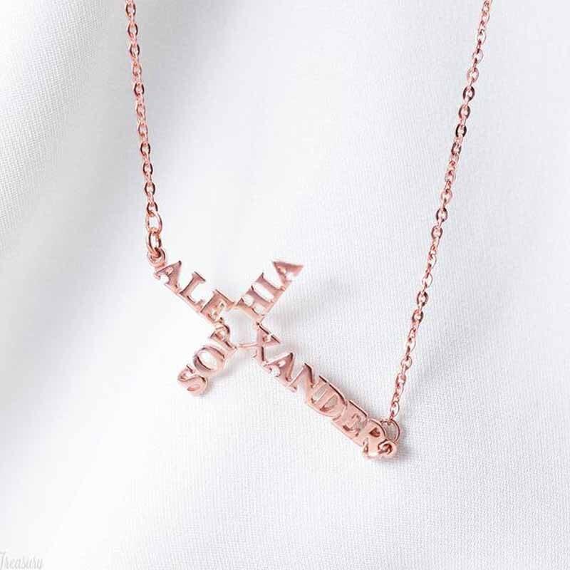 Name Cross Necklace Personalized Sideway Jewelry