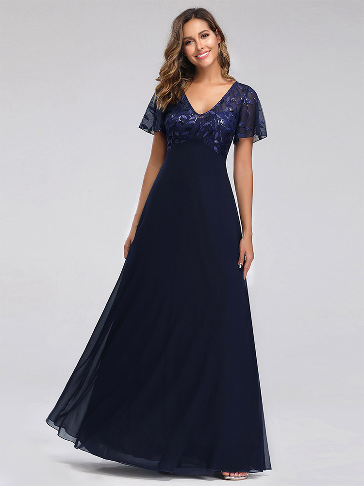 Party-Gowns Short-Sleeve Embroidery Evening-Dresses Ever Pretty Chiffon Wedding Navy-Blue
