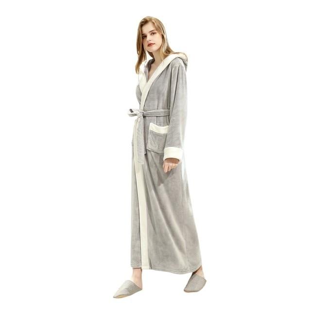 Thicken Warm Couple Flannel Robe Winter Long Sleeve Bathrobe Sexy Women Men Nightgown Lounge Sleepwear Home Clothes 35