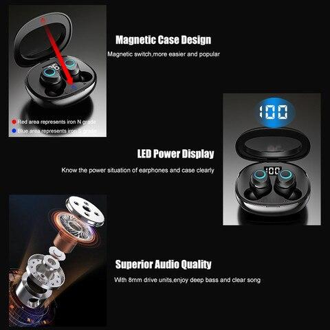 VOULAO Wireless Earphones Bluetooth 5.0 Earphone Mini TWS Wireless Bluetooth Headphones 8D Stereo Touch Control Handfree Headset Multan
