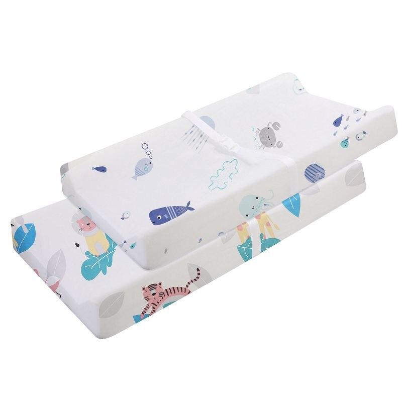 Эластичный чехол для пеленального столика-2 шт. в упаковке, эластичный чехол для пеленального столика для мальчиков и девочек, 89*44 см, простыня для кроватки - Цвет: CLS0045-4-1