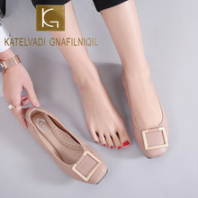 цены KATELVADI Women Flats Metal Buckle Flat Shoes Women Loafers Ladies Shoes Casual Square Toe Slip On Shoes For Women JN008