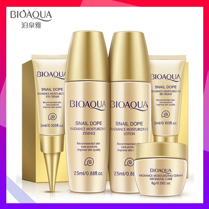 BIOAQUA Snail Set 5pcs Face Cream Whitening Moisturizing Face Cream With Snail Hyaluronic Acid Anti Aging Wrinkle Whitening