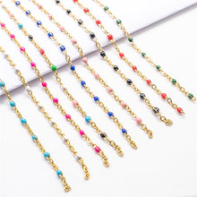1 Meter New Stainless Steel Link Cable Chain Gold & Silver Enamel Chains Findings For Trendy DIY Jewelry Making Wholesale Supply