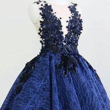 Blue Cocktail Dress 2020 Applique Sequin Laces A-line O-neck Sleeveless Mini Short Evening Party Dresses платья знаменитостей