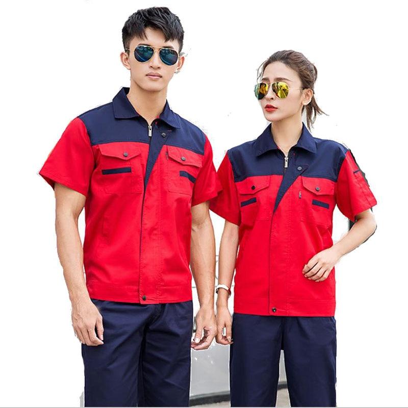 Summer Custom Logo Workwear Uniform For Worker Workwear Overalls Work Pant Cargo Work Clothing Sets Men Women Suits Jackets+Pant